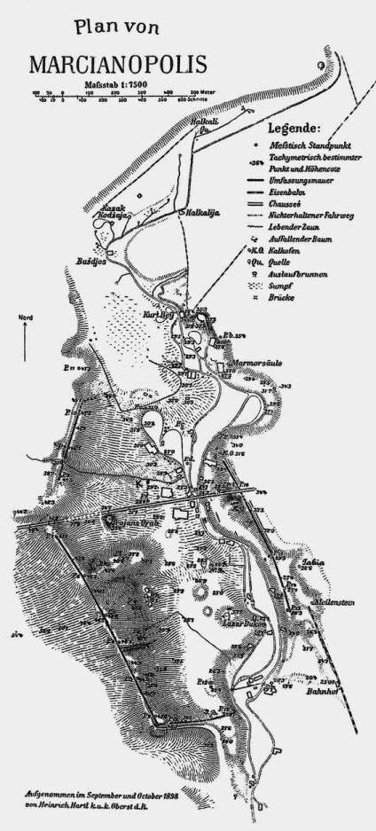 1. План на Марцианопол (Marcianopolis) от Хайнрих Хартл (Heinrich Hartl, 1840-1903) - 1898 г.