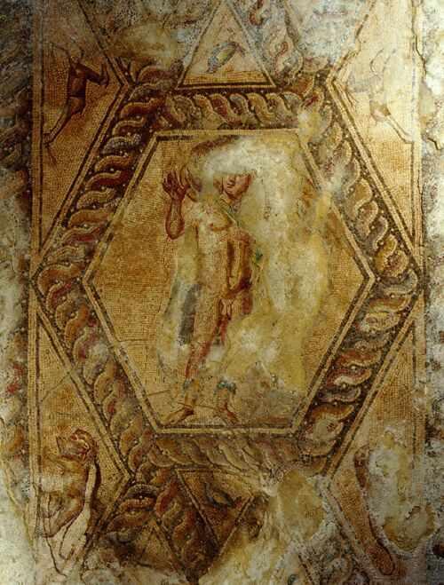 "Шестоъгълно пано ""Ганимед и орела"" - opus vermiculatum, opus tesselatum"