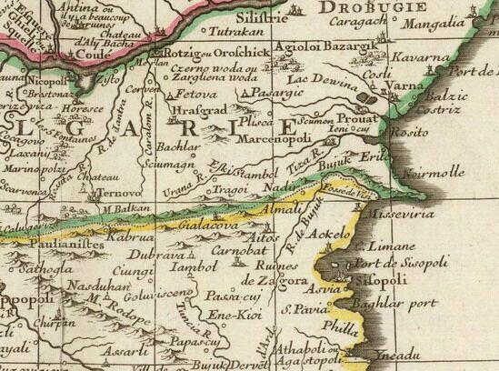 4. Фрагмент от картата на Гийом Делил (1703 г.)