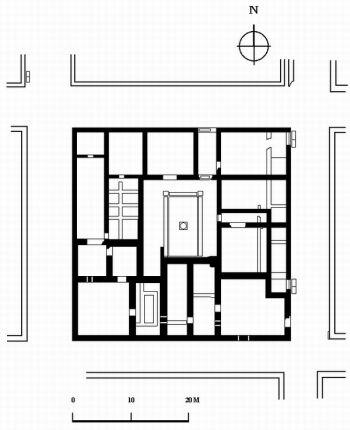 План на античната сграда с мозайки (IV-VI век) - М 1:500