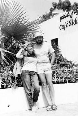 Със съпругата ми Румяна пред кафене близо до гр. Тунис по време на наше лятно пътешествие до Тунис и Франция през юни 1987 г.
